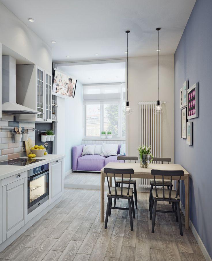 Wąska kuchnia z jadalnią i salonem w wykuszu
