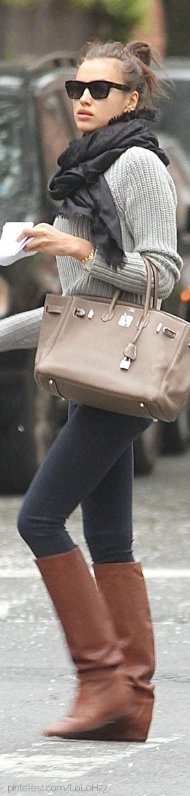 We adore Irina Shayk's neutral colours - the perfect colours for winter.