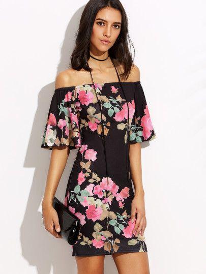 Vestido floral hombro al aire entallado-Sheinside