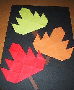 Herfst, vouwen en plakken in platte vlak