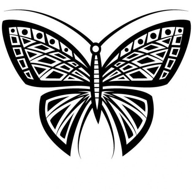 Butterfly tattoo tribal design vector
