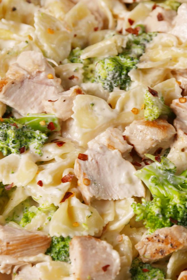 Creamy Chicken & Broccoli Bowties (substitute cauliflower for pasta)
