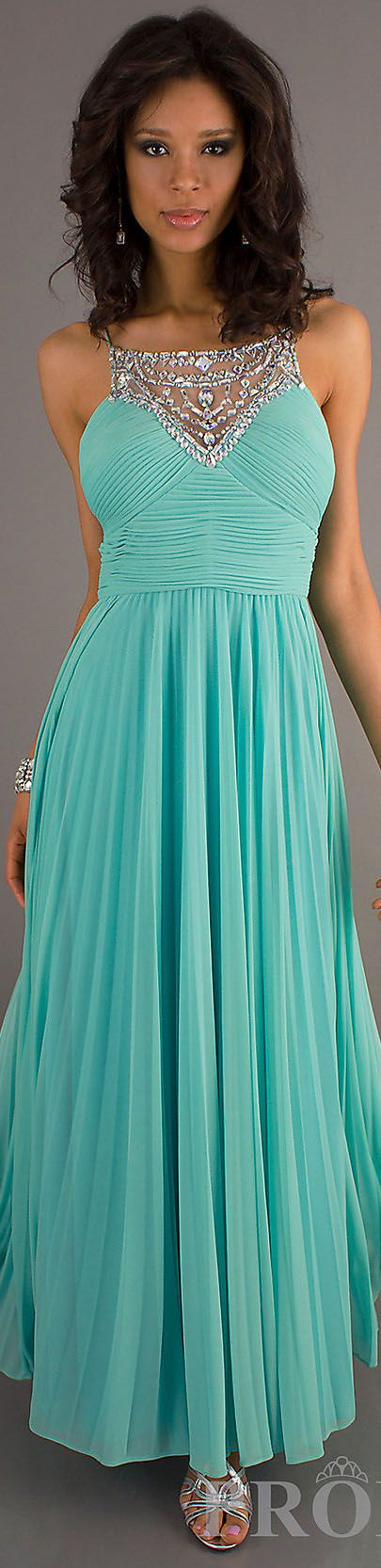 Yes. Mint prom dress with beaded/sequin chest piece.