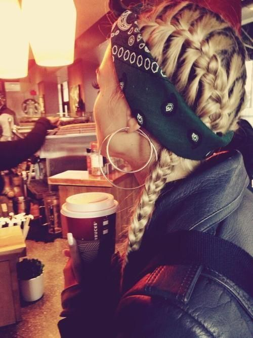 french side braid, bandanna, hairstyle. doing it! A little bit of gangsta style :)