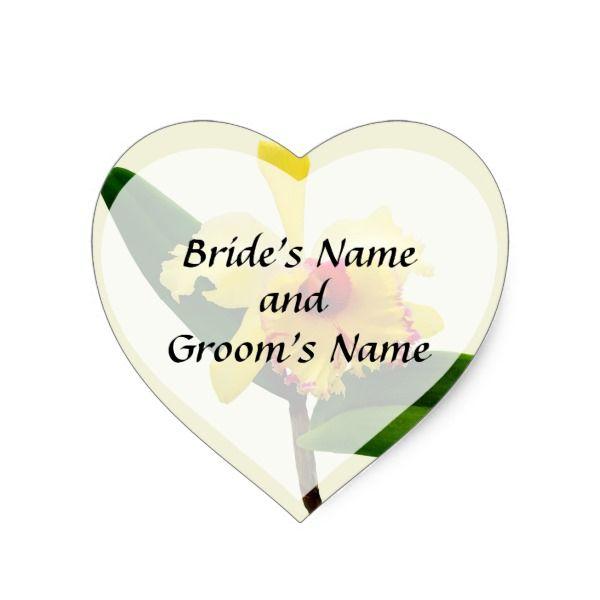 Pink Tipped Yellow Orchid Save the Date Heart Sticker #wedding #kraft #custom #bridekraft #floral #flowers