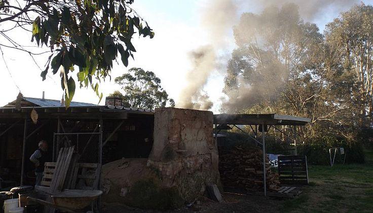 Olsen built woodfire goroundhog kiln reducing during woodfiring, Strathnairn Arts, 13 September 2014