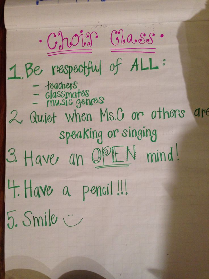 My first choir rules poster! Lead Academy Middle!   Music ...