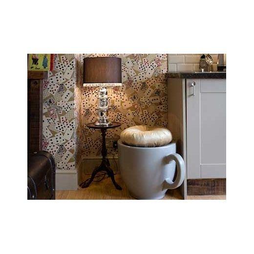 Holly Palmer Giant Tea Cup Stool / Side Table Light Grey