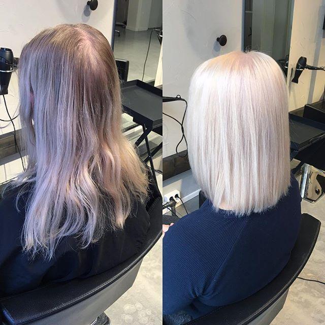 Winter white and new blunt bob ❄️ #hairbyelisa #hairoftheday #hairofinstagram #elyciaturku #turku #hairdesignfactory #olaplex #luxima #bluntcut #bob #lob