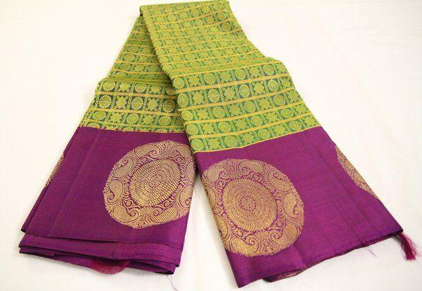 Lime Green & Purple Jacquard Pure Kanchipuram Silk Saree | Temple Of Kanchi Sarees, Temple Jewellery, Pure Silk, Kanchipuram