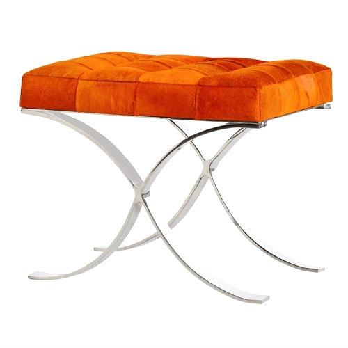 Dressing Table Stool, Decker Bench In Orange Leather / Hide, so beautiful, one of over 3,000 limited production interior design inspirations inc, furniture, lighting, mirrors, tabletop accents and gift ideas to enjoy repin and share at InStyle Decor Beverly Hills Hollywood Luxury Home Decor enjoy & happy pinning