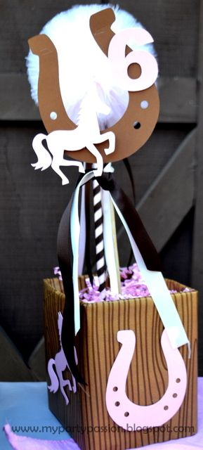 Cowgirl/boy or horse party centerpiece idea.