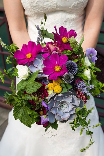 {{Locally grown summer wedding bouquet with succulents, billy balls, echinops, cosmos, lavender, mint.}} Photography by Greenhouse Loft Photography, greenhouseloft.com || flowers by Pollen, pollenfloraldesign.com:
