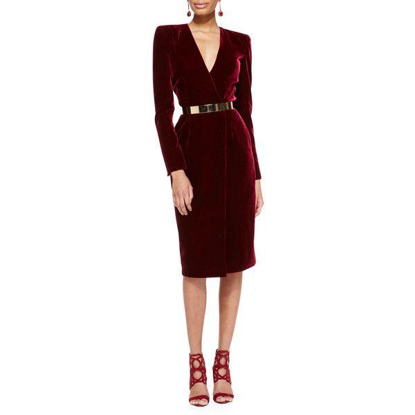 Oscar de la Renta Long-Sleeve Velvet Crossover Dress