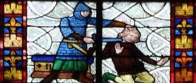 """Un extrait de vitrail -assez surprenant- dans la nef (Vitrail des miracles de ste Radegonde?). Par son fond de grisaille, ce vitrail daterait du XIV°s. - 24) STE-RADEGONDE, INTERIEUR, NEF: *Enfant mort-né ressuscité par le cilice de la sainte.- Un enfeu abrite un groupe sculpté dit """"du Pas de Dieu"""". Il date du XVII°s. Un an avant sa mort, Ste Radegonde a une vision, du Christ. Celui-ci lui annonce qu'il l'accueillera bientôt au Paradis. Au passage, il laisse une trace de son pied dans la…"""