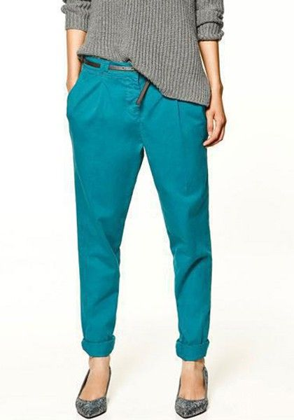 Acid Blue Belt Waist Nine's Cotton Blend Pants