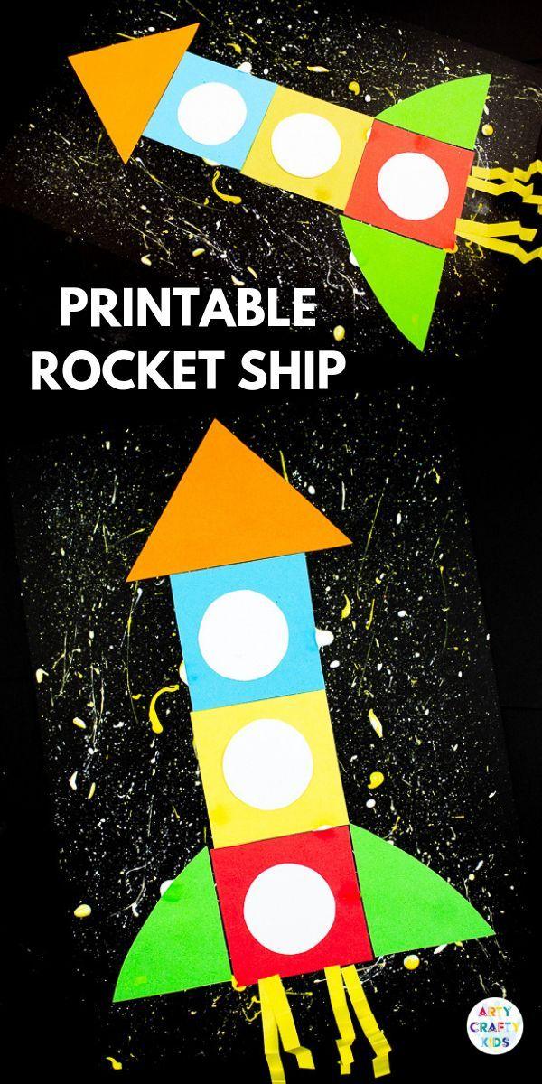 Printable Rocket Ship For Kids Easy Arts Crafts Space Crafts