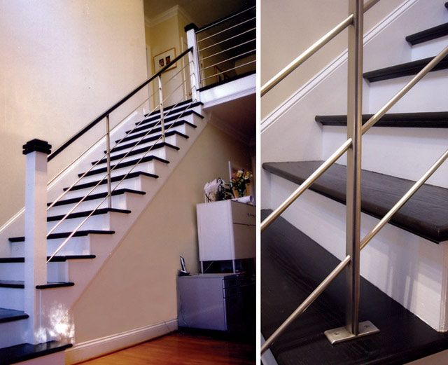 Black and white color themes modern style interior stair handrail ...