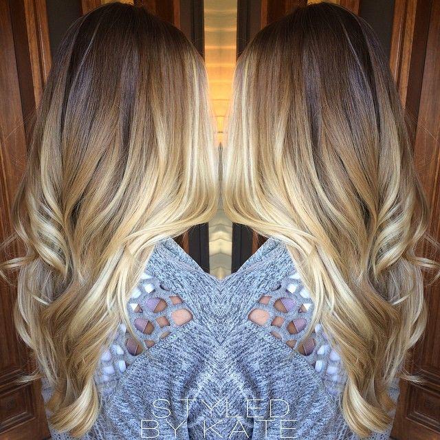 California Blonde • Balayage highlights over a light brown base. #haloroot #styledbykate | Instagram: @StyledByKate_