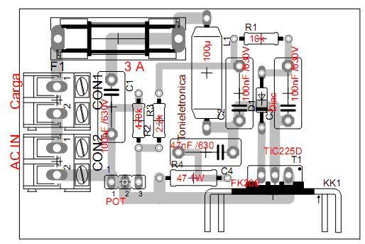 dimmer comp Dimmer com triac tic225, controle de potência em cargas iluminacao led fontes circuito controle circuito circuito