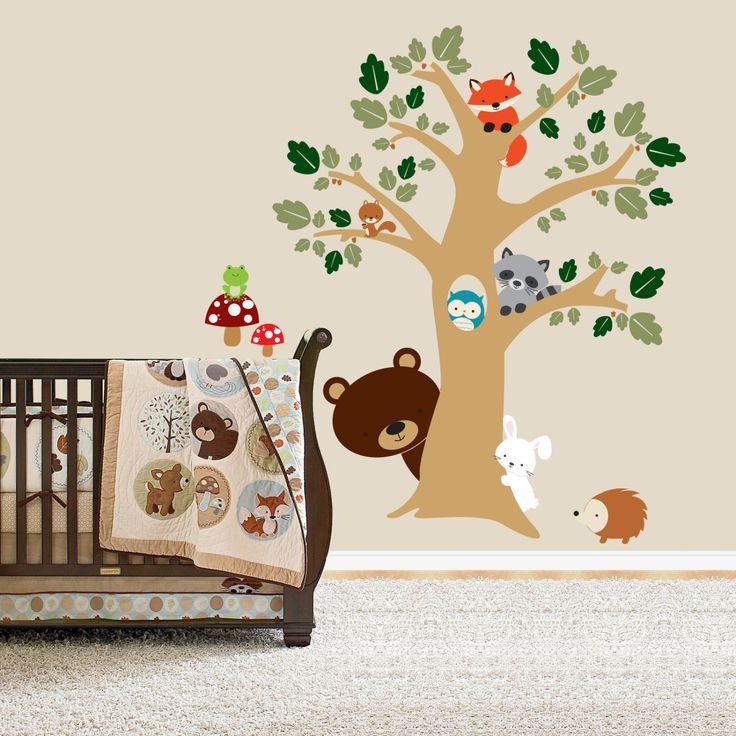 Forest Friends Room, Peek a Boo Tree, Woodland Animals Decal Nursery Wall Vinyl. $75.00, via Etsy.