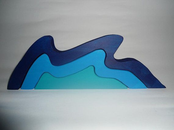 Children kids small ocean wave stacking woden toy hand made hippy steiner waldorf colourful