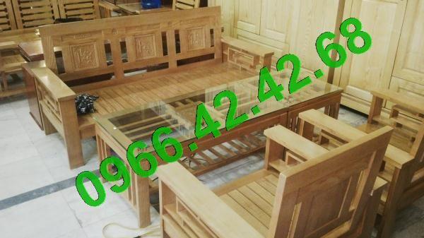Chất liệu bộ bàn ghế phòng khách Salon gỗ sồi Nga Gỗ sồi Nga đã tẩm sấy, không cong vênh, không mối mọt; - Kích thước bộ bàn ghế phòng khách : Ghế băng dài  02 ghế đơn Bàn chính Bàn phụ:
