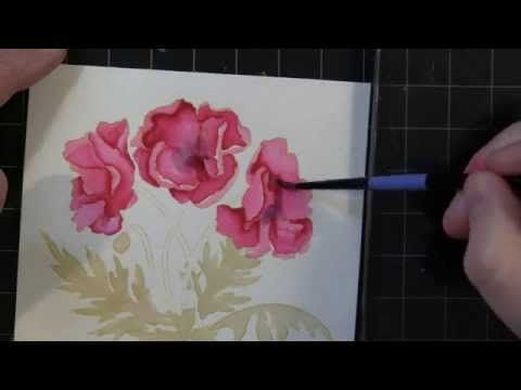 PB&J: No Line Watercolor Coloring -stamp image w/distress ink, color w/tombow markers  sm paintbrush