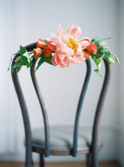 Pretty chair decor: http://www.stylemepretty.com/new-york-weddings/new-york-city/2014/12/09/botanical-bridal-portrait-boudoir/ | Photography: Kate Ignatowski - http://www.kateignatowski.com/