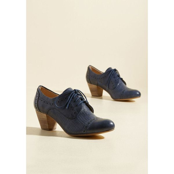 Bravo, Milano Oxford Heel ($50) ❤ liked on Polyvore featuring shoes, heels, oxford heel, varies, stacked heel oxford, heeled oxford shoes, navy blue oxfords, heeled oxfords and navy heeled shoes