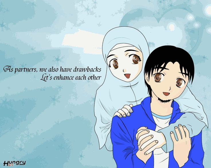 Anime muslim couple cute in hijab