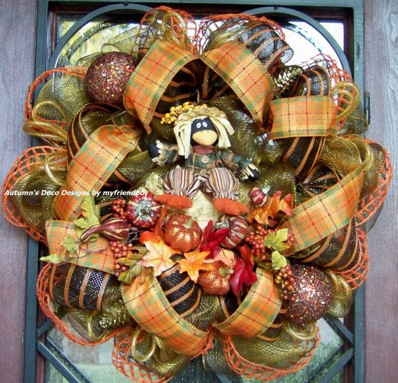 Pumpkin Patch Scare CROW Harvest Fall Deco Mesh Wreath
