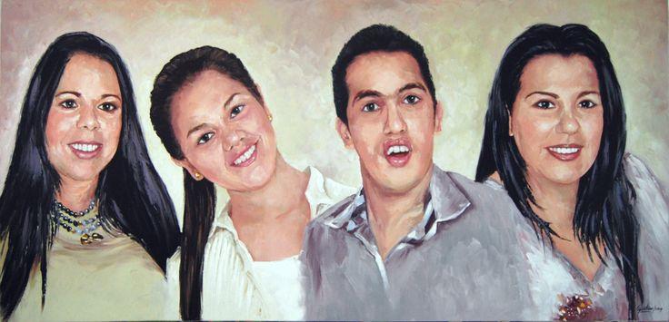 Cuatro hermanos - Oleo con espátula sobre lienzo - 150 x 70 cm - 2014