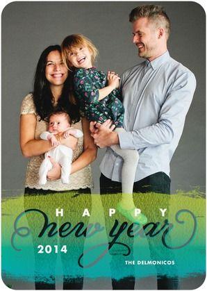 Beautiful Brushstroke - New Years Cards in Enchanted Green. #NewYears
