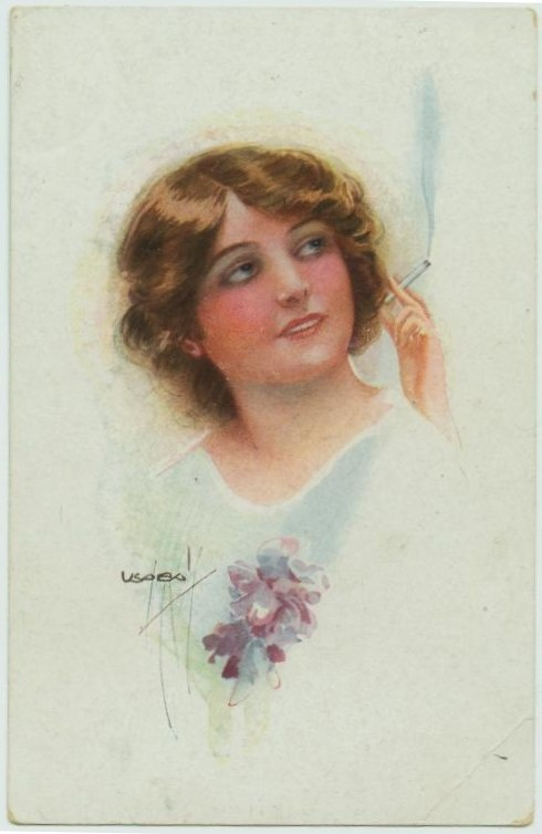 Sophisticated woman smoking cigarette - signed Usabal circa 1920s