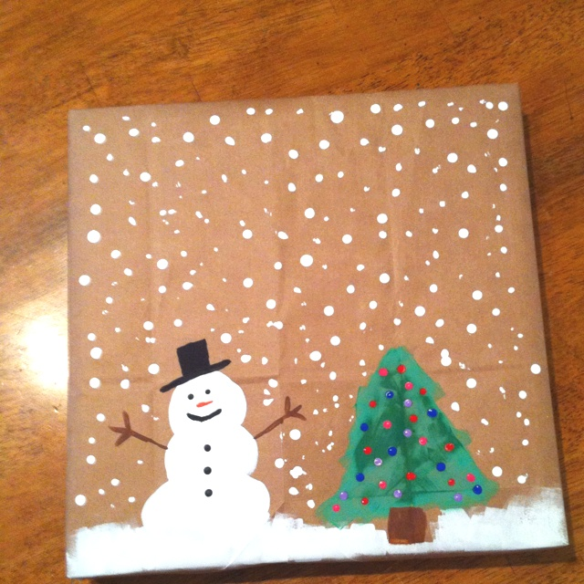 Paper sack gift wrap that I painted....: Sacks Gifts, Gifts Wraps