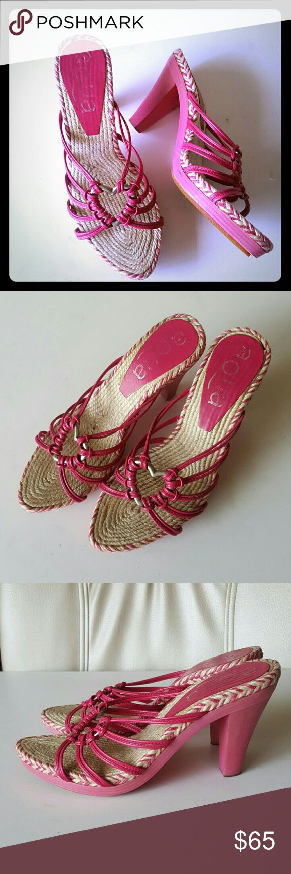"""AQUA Espadrille Wooden Heel Sandals Beautiful pink/hot pink genuine leather, real wood and  wonderful espadrille braided work.  Size Euro 37/US 7. High shine silvertone heart center piece. Great pre-owned condition. Rubber non slip outer bottom soles. 3"""" wooden kitten heels--- Fast ship! Aqua Shoes Espadrilles"""