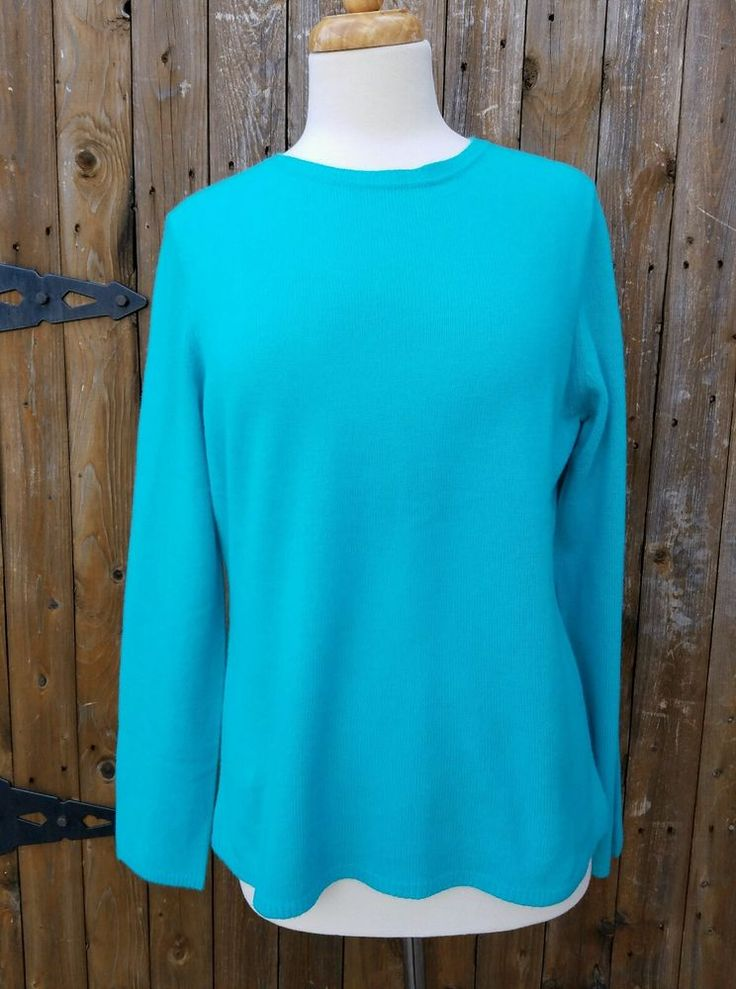 NWT Peck & Peck Women's Size Large 2 Ply 100% Cashmere Sweater #PeckPeck #Crewneck