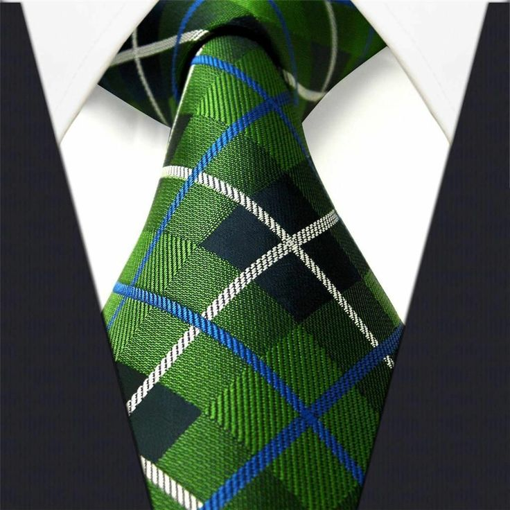 Green Check w/ White & Blue Stripe - Neckties Only Collection - NT004h 25% off discount code: pinterest @ NecktiesOnly.com