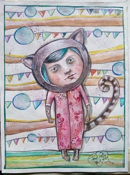 Illustrationen - Kitty love....nr.2 - ein Designerstück von feicht bei DaWanda