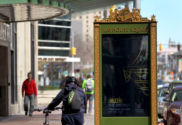 Another view of new displays at Playhouse Square. (Marvin Fong / The Plain Dealer)