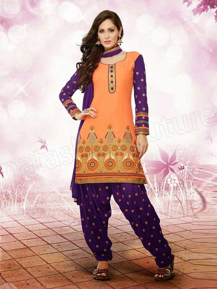 #Designer Anarkali #Orange & Purple #Indian Wear #Desi Fashion #Natasha Couture #Indian Ethnic Wear # Salwar Kameez #Indian Suit