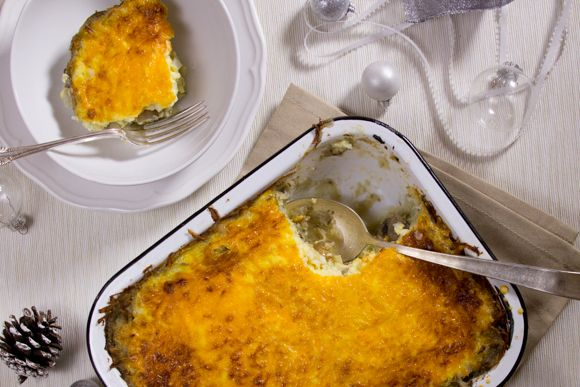 Mushroom, shallots, Potato Breakfast Bake