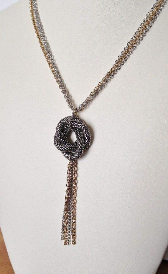 Algerian Love Knot Necklace Antique Silver by tudorshoppe on Etsy, $42.00