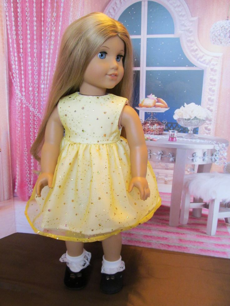 18'' Doll Easter Dress, as seen on an American Girl, Bright Sunny Yellow Dress for Easter,Spring,Summer,Party Time ,Fun Bright Sparkly Dress by SewManyThingsbyNancy on Etsy