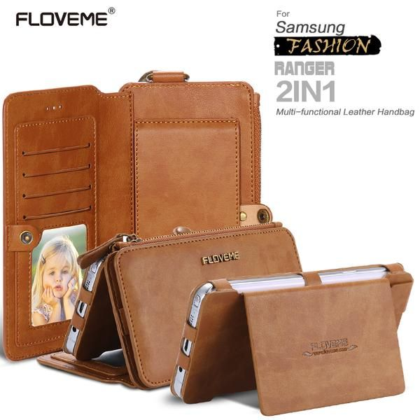 FLOVEME 2017 Classical Retro Leather Phone Case For Samsung Galaxy NOTE 3 4 5 / S7 / S6 edge plus Case Metal Ring+Wallet Cover