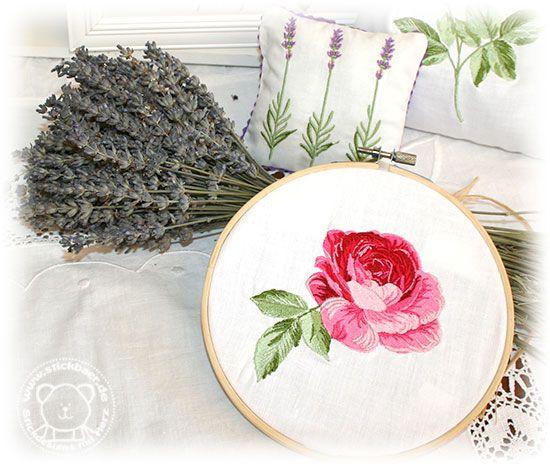 Rose et Lavande Die neuen romantischen Stickdateien vom Stickbär, gestickt wie gemalt
