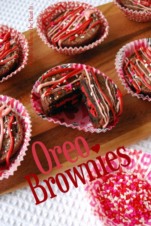 #Valentine Brownies - not really a traditional recipe. Just basically prepare a package of brownie mix, put an oreo in each muffin tin spots, cover with brownie batter and bake about 15 mins at 350. These will be for my work crew.
