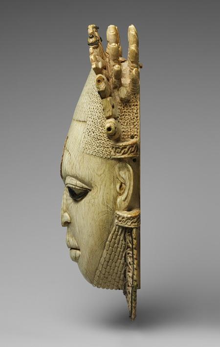 Queen Mother Pendant Mask: Iyoba, 16th century Nigeria; Edo peoples, court of Benin Ivory, iron, copper (?)
