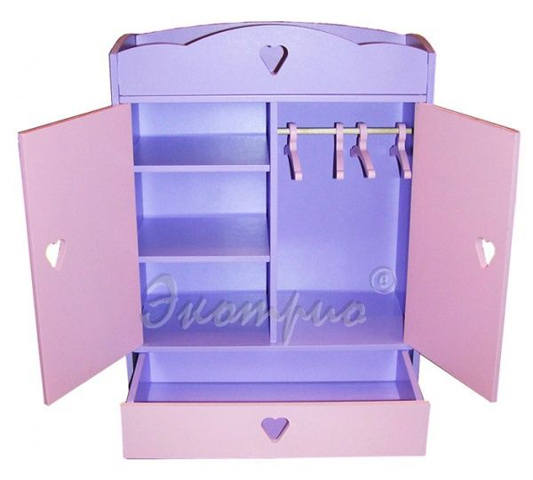 Шкаф для большой куклы цветной